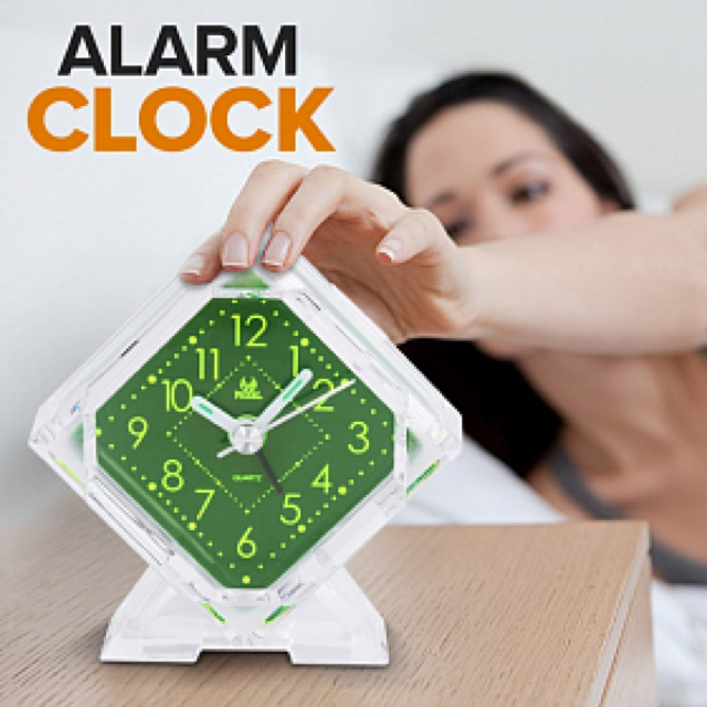 Pearl Mini Clock Travelling Table Alarm Clock Quartz LED Battery Operated