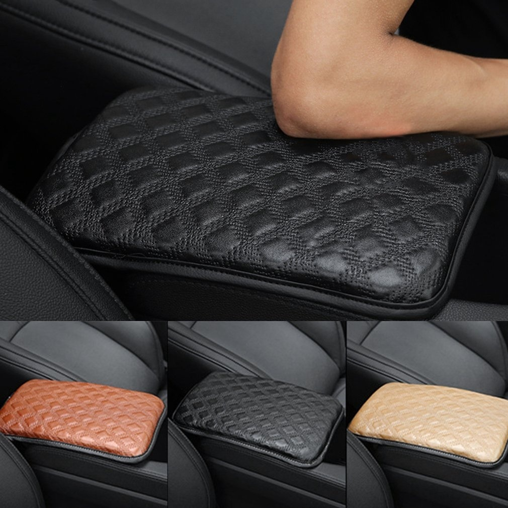 Universal Car SUV Armrest PU Leather Pad Cover Center Console Box Cushion NEW