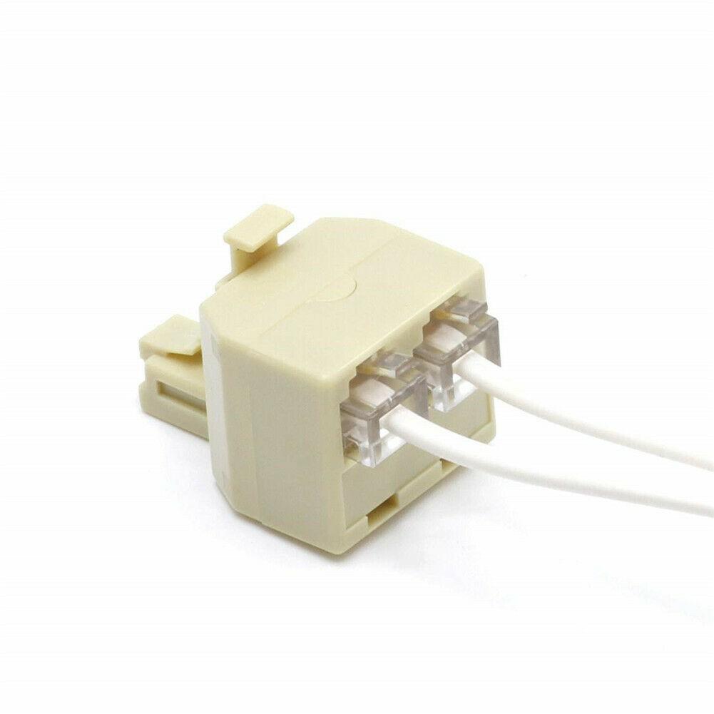2x RJ11 Male to Dual RJ11 Female Jack Modular Telephone Duplex Splitter Adapter