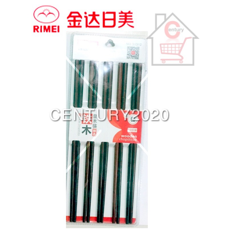 RIMIE Natural Wood 10 Pairs Red Sandal Wood Chinese Chopsticks Non Painted Chop Stick 31312