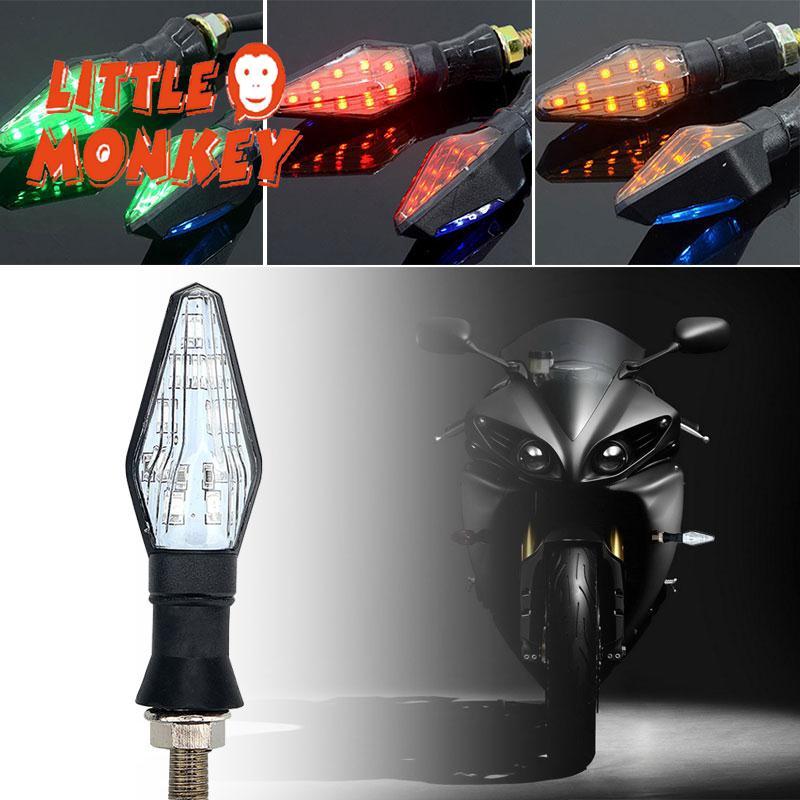 14 DEL 1pc Mini MOTORCYCLE moto TURN SIGNAL Lights Indicators AMBER New