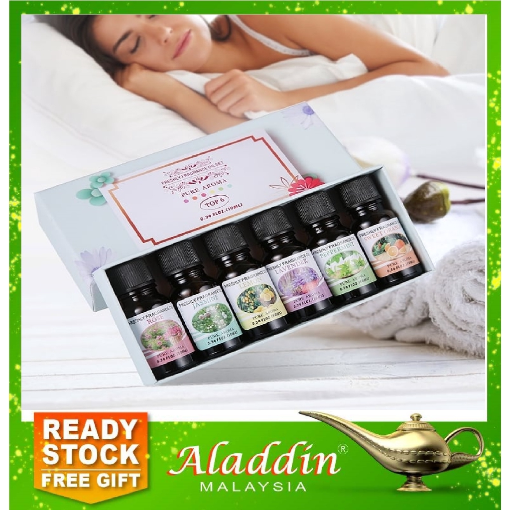 Aladdin 6 Scents Fragrance Essential Oil Set Aroma Stress Relief Air Diffuser Humidifier 15w3 Shopee Malaysia