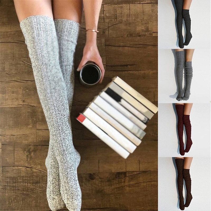 Women Crew Socks Thigh High Knee Film Vintage Long Tube Dress Legging Athletic Compression Stocking