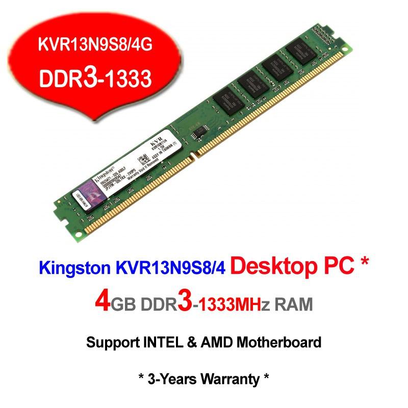 KINGSTON 4GB DDR3-1333 PC10600 KVR13N9S8/4 DESKTOP RAM Memory