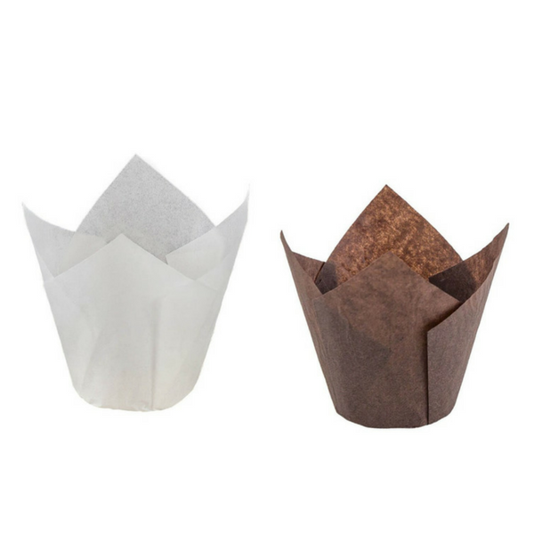 Novacart, Baking Cup, Tulip, Without Step, Brown, 160 x 160 x Ø50 mm