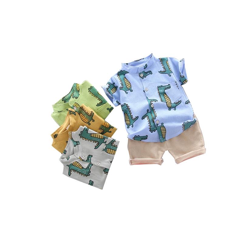 🔥ส่งไวจากไทย🔥ชุดเสื้อเชิ้ต แขนสั้น พิมพ์ลายไดโนเสาร์ และ กางเกงขาสั้น สีพื้น สำหรับเด็กผู้ชายอายุ 0-4 ปี 2 ชิ้น:Green,110cm