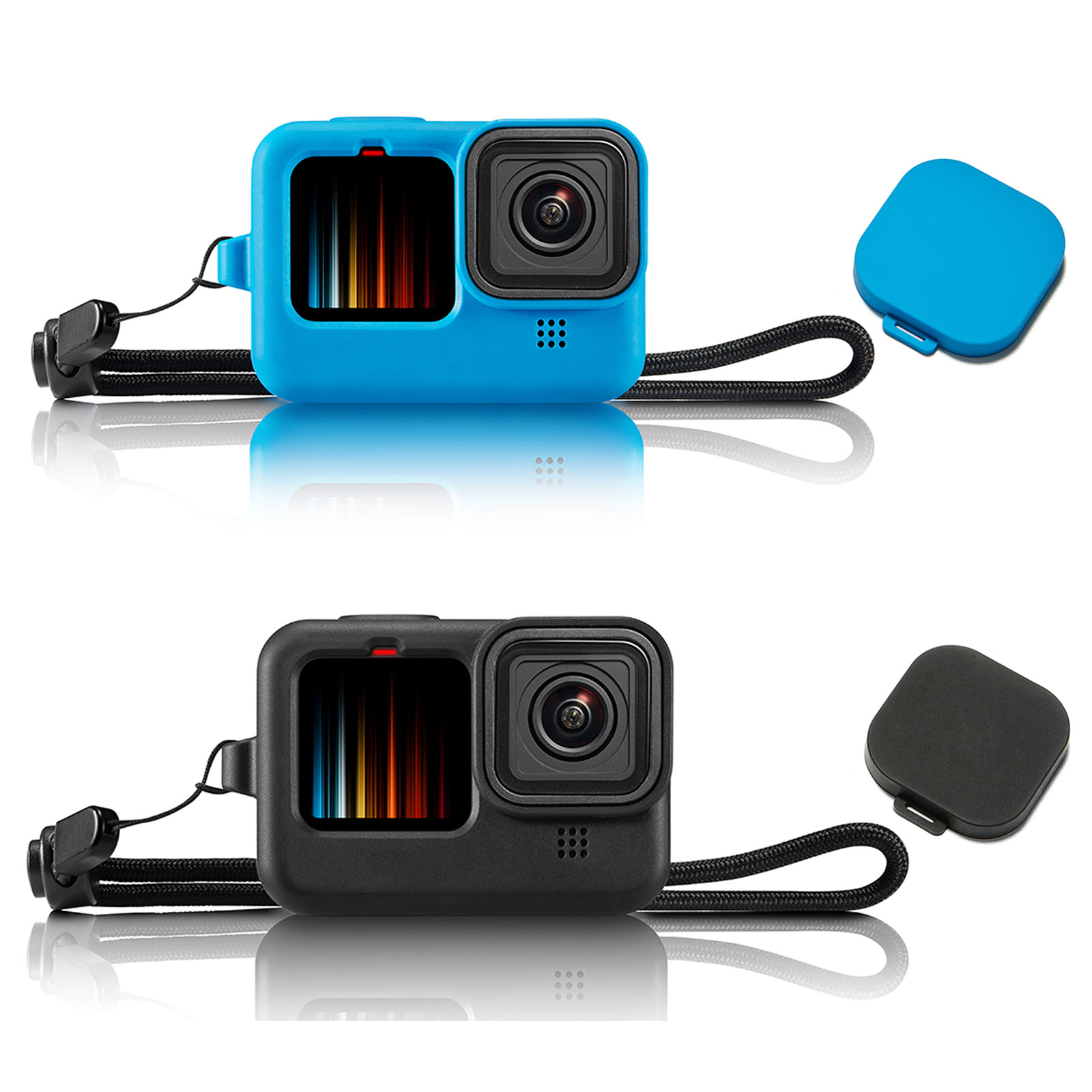 Lanyard Silicone Protective Cover for GoPro Hero 9 Housing with Lens Cap