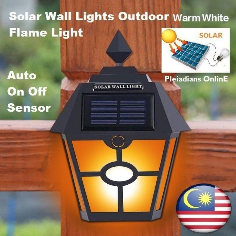 [ READY STOCK ]  Waterproof Solar Euro Wall Lamp Led Light Pelita Lampu Raya Garden Outdoor Jualan Murah Flash Bulb