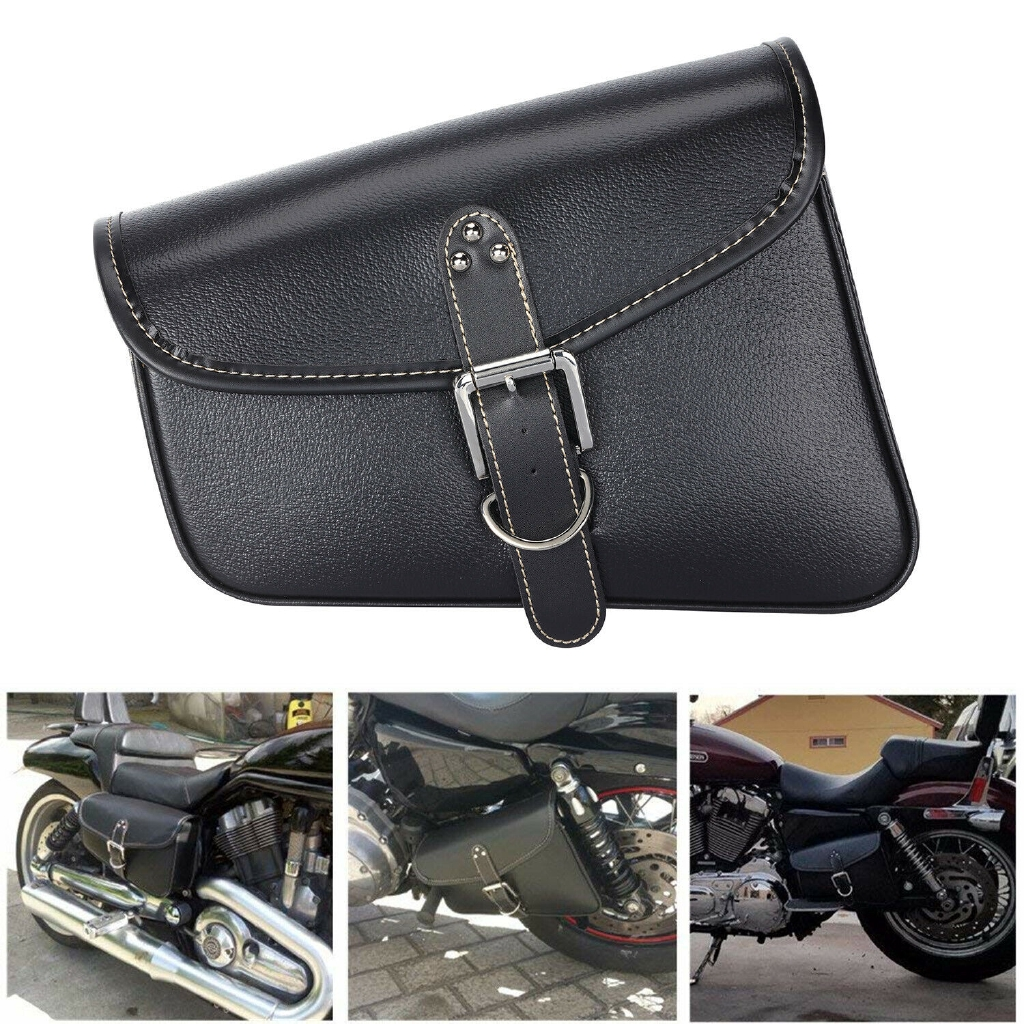 134b28fa3a82 PU Leather Solo Saddle Bag Swingarm Bag Tool Bag for Softail Sportster  Yamaha