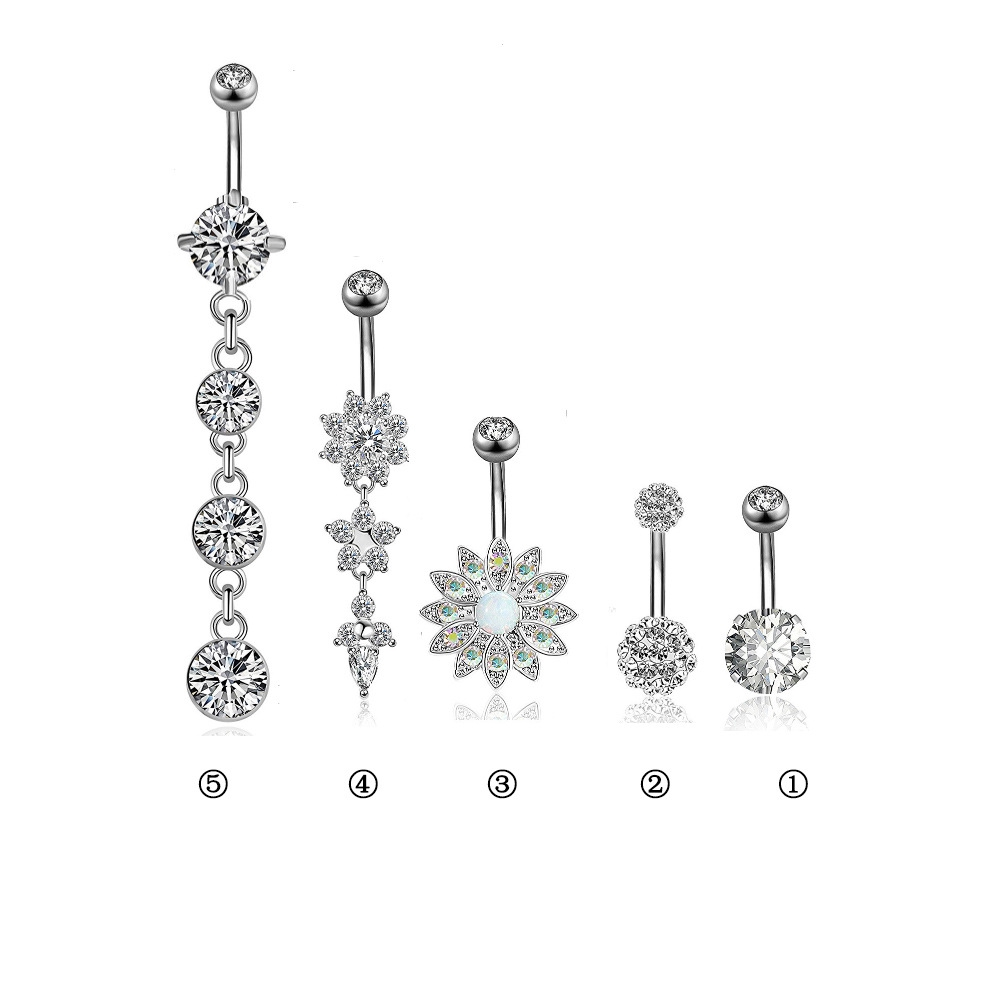 Stainless Steel Belly Button Ring Body Jewelry Set Dangle Navel Ring