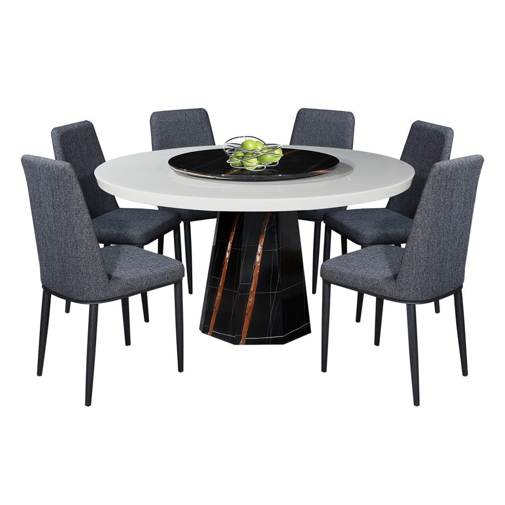 Nl Mtj0048 2021 4 Luxury Design Round Marble Dining Table Set 1 6 Shopee Malaysia