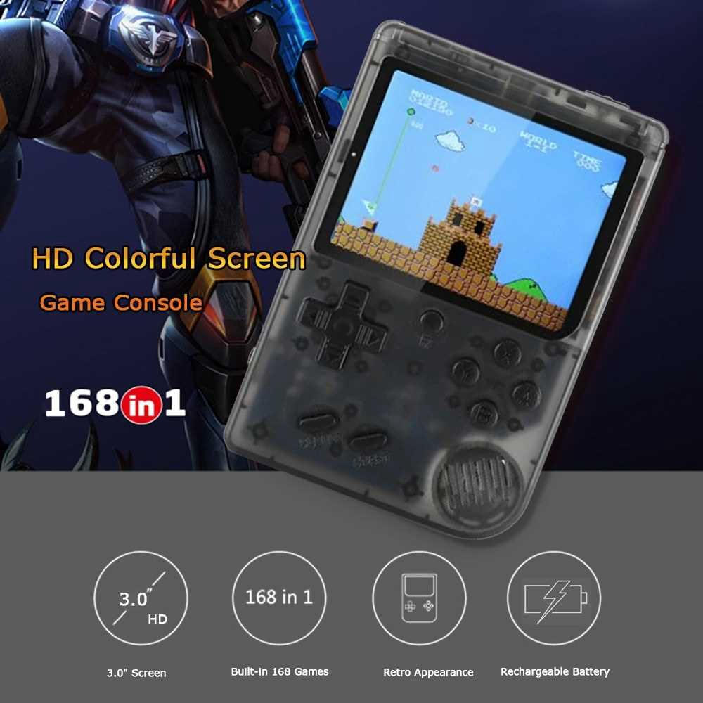 Handheld Game Console 3 Inch w/ 168 Games Retro Game Player Birthday Christmas Presents for Children (Transparent + Bla