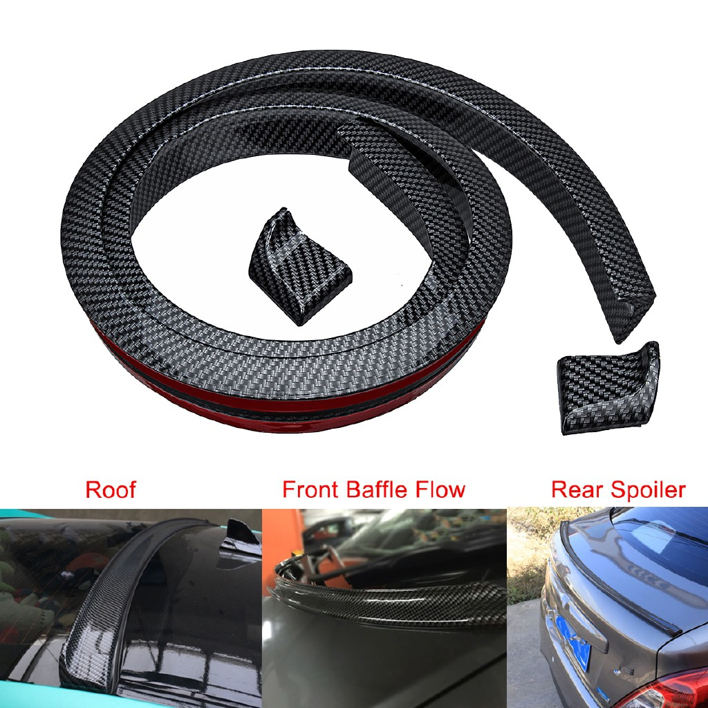 5FT Universal Carbon Fiber PU Car Rear Roof Trunk Spoiler Wing Lip Sticker Kit