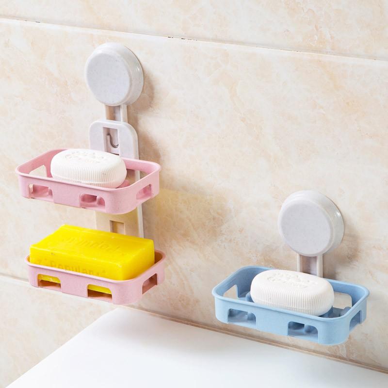 Double Layers Strong Sucker Soapbox Soap Draining Holder Soap Dish Box 6L