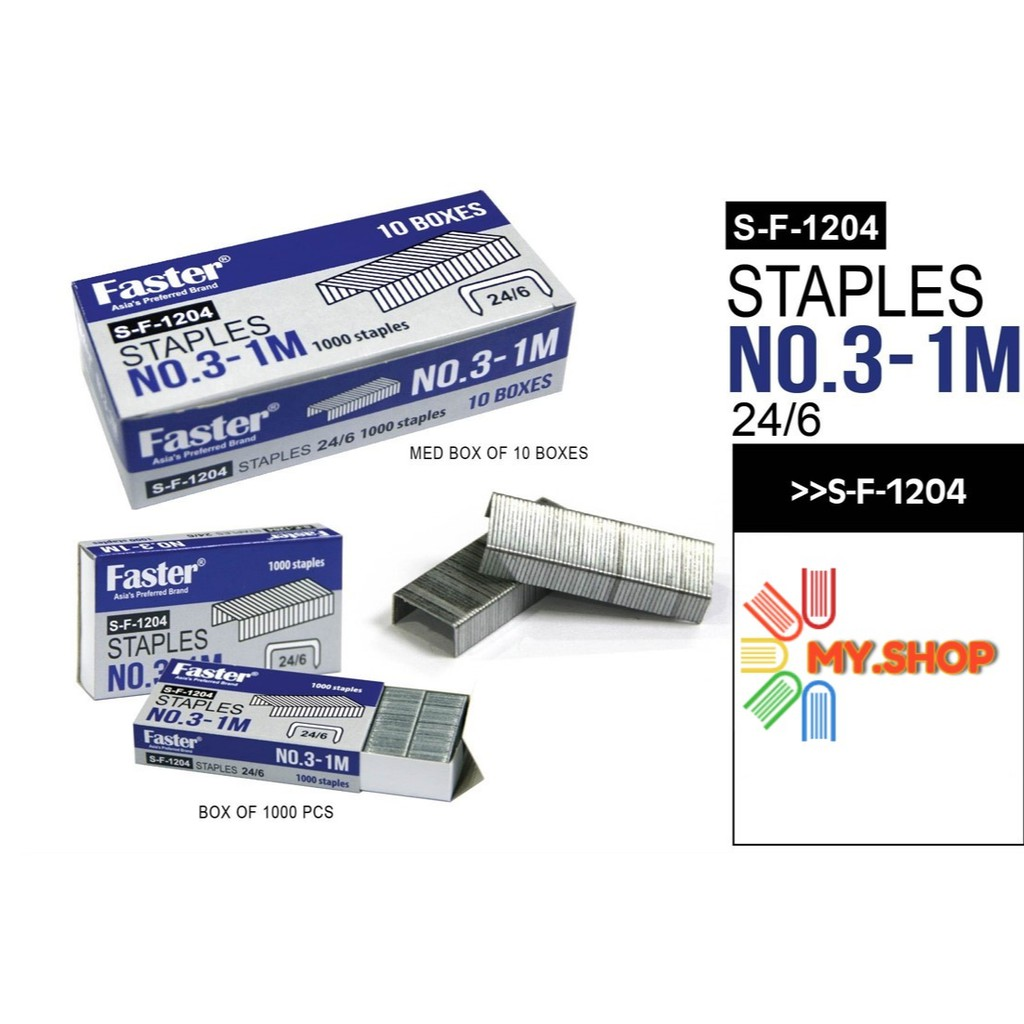 Faster S-F-1204 Staples No.3-1M & Dolphin DOL-3S Staples