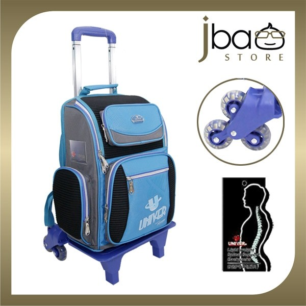 Univer 6 Wheels Trolley Kid School Bag Ergonomic Backpack (Blue)
