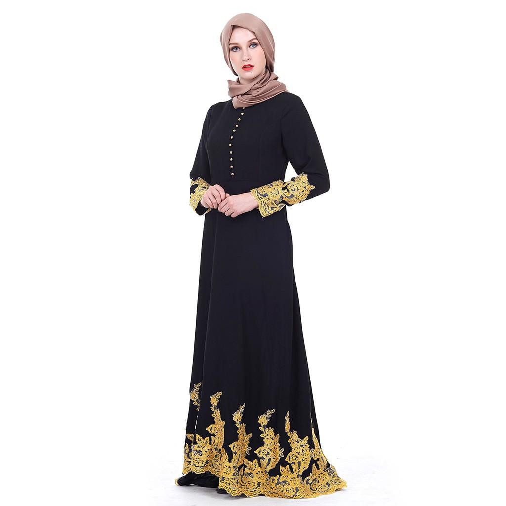 2eec7227e1e Embroidery lace Muslim wear Abaya The Eid festival Jubah Islamic Maxi dress
