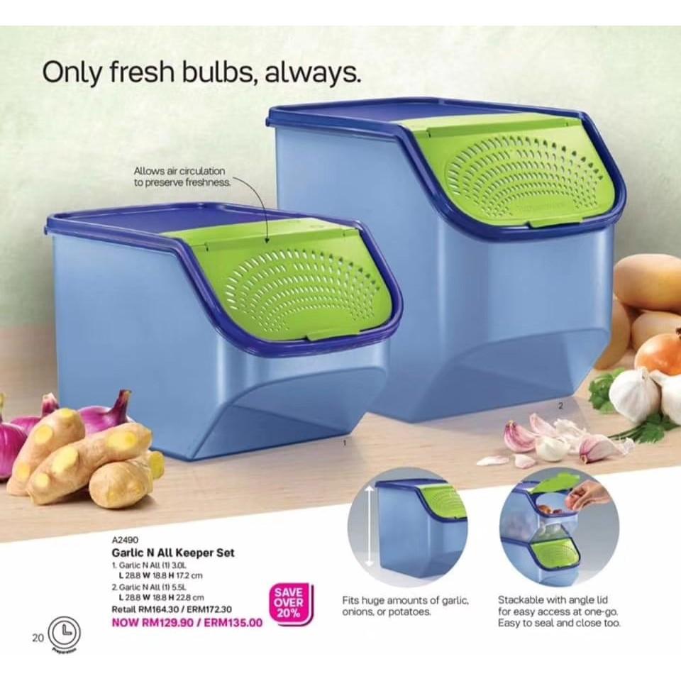 Tupperware Garlic N All Keeper 5.5L & 3.0L (2) Green