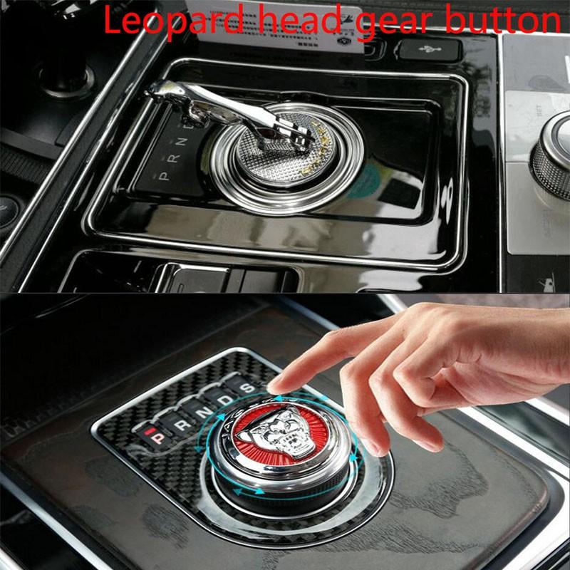 Car Interior Decoration Gear Shift Knob Shifter Emblem Cover Red Logo For Jaguar