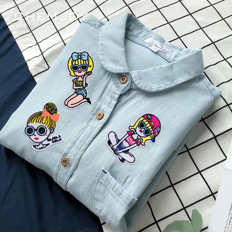 1be55242d Iron on Embroidery Cute Girl Patch Fabric Badges Sew Applique Patches DIY
