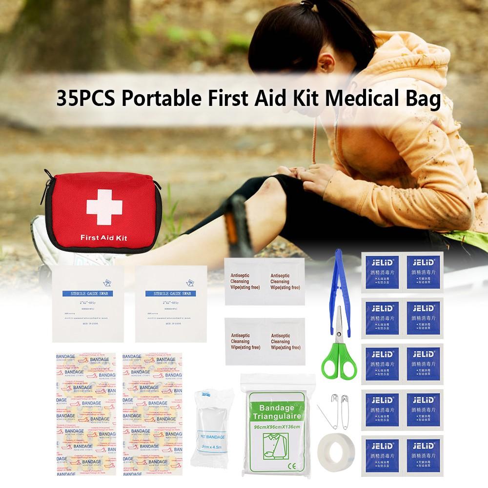 35PCS Portable First Aid Kit Medical Survival Bag Mini Emergency Bag