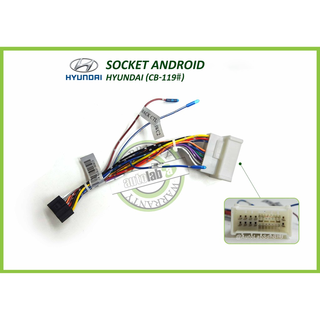 """Car Stereo Power Harness Socket Hyundai For Android Player 9""""/10"""""""