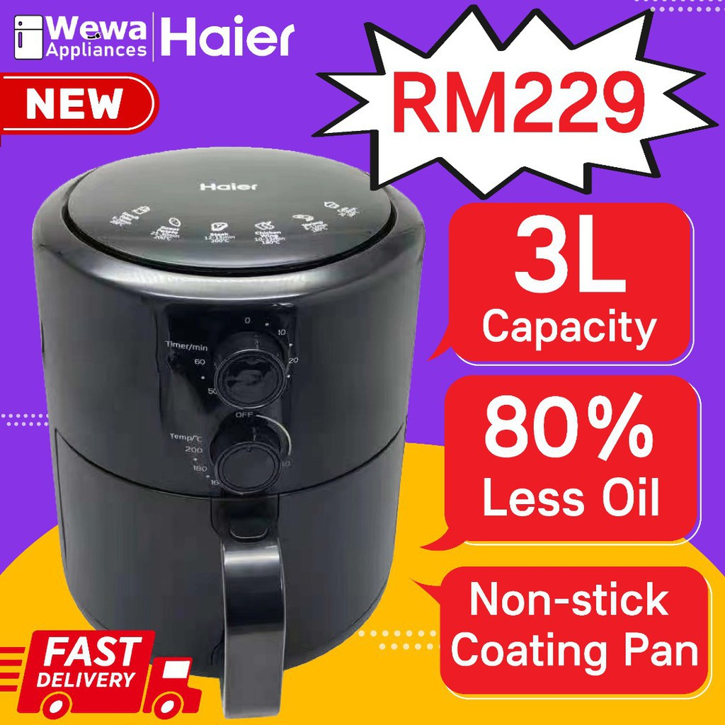 (Ready Stock) Haier 3L High Quality Air Fryer Analog   Oil free   Non Stick   SIRIM   1 year warranty