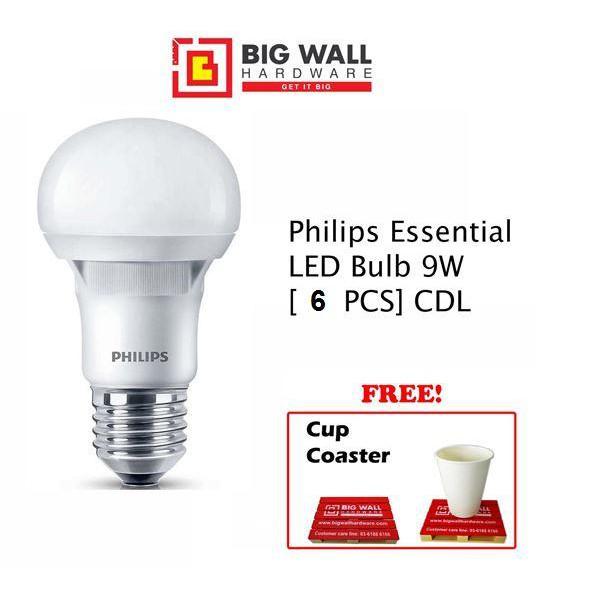 Philips Essential LED Bulb 9W E27 220-240V Cool Daylight (6 PCS) Lampu