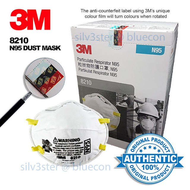 With Face Mask 1pc Haze 8210 Respirator Invoice X 3m Dust Bluecon N95