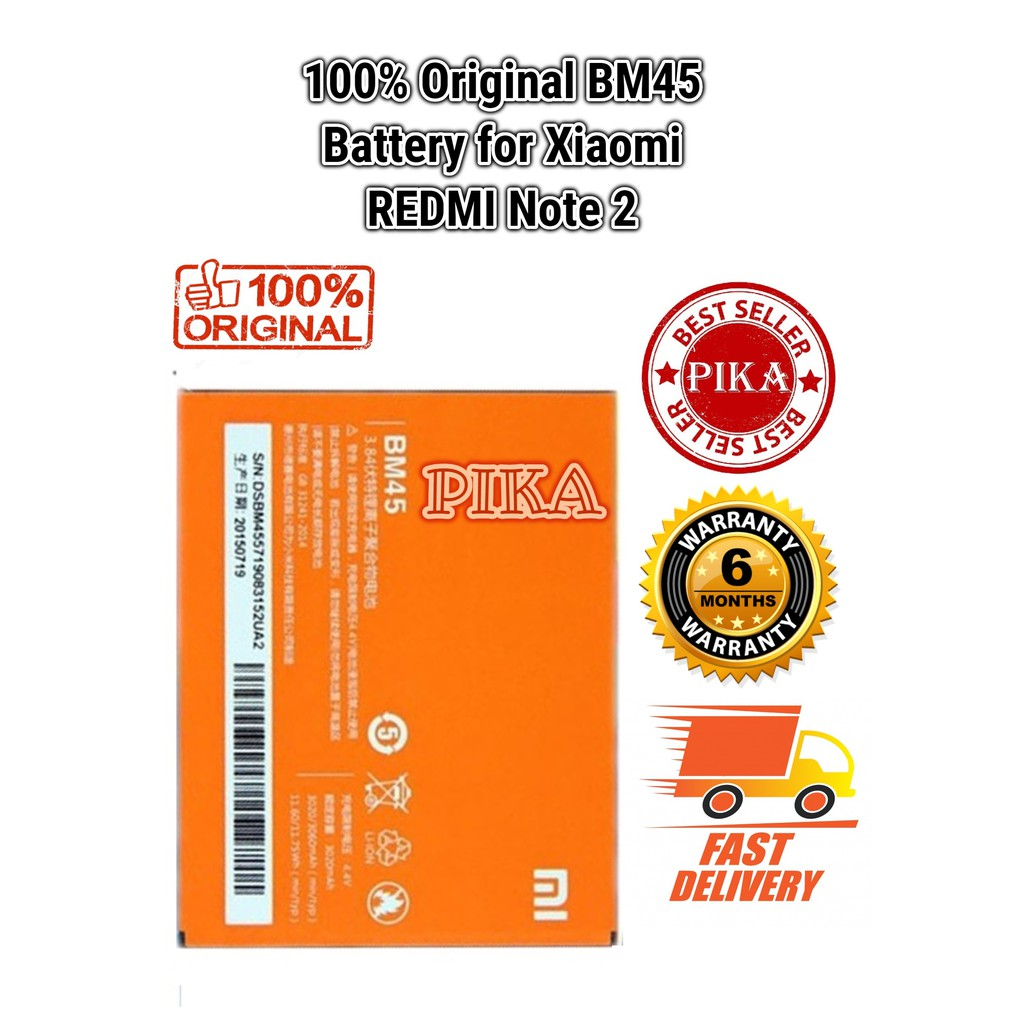 『CC』XiaoMi ORIGINAL Redmi Note 2 Battery BM45 (3020 mAh) | Shopee Malaysia