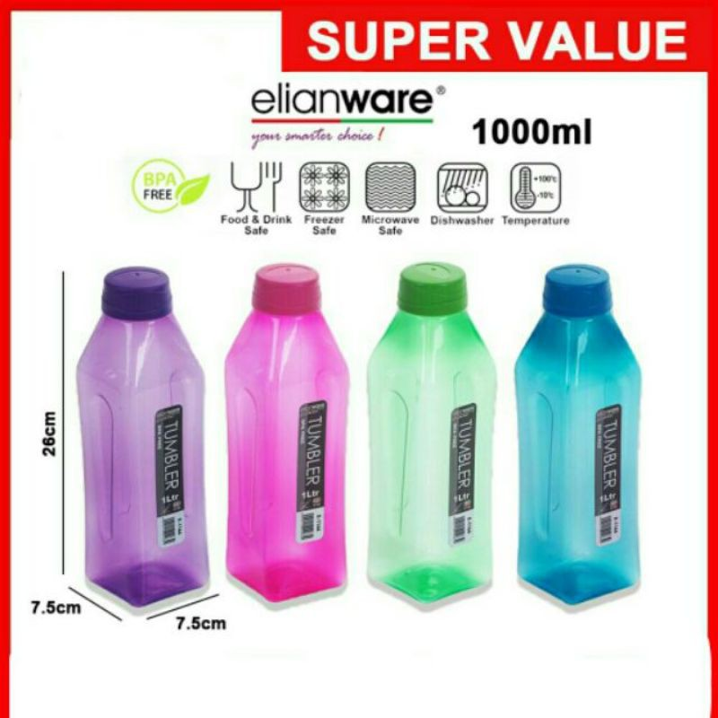 Elianware 1000ml Tumbler Water Bottle Air Botol Driking bottle 1 liter