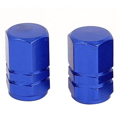 4 Stk. blau Metall Sechseck Auto Reifen Ventildeckel