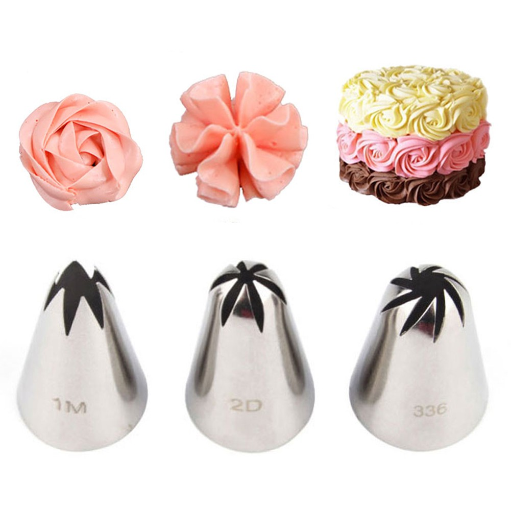 #2D Rose Flower Cream Piping Nozzles Large Size Stainless Steel Cupcake Nozzles