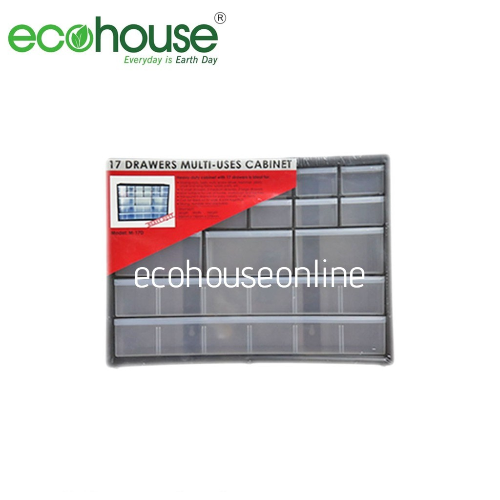Ecohouse 17 Compartment Stackable Heavy Duty Drawers/Plastic Storage Multi Uses Organizing Cabinet [ READY STOCK ]