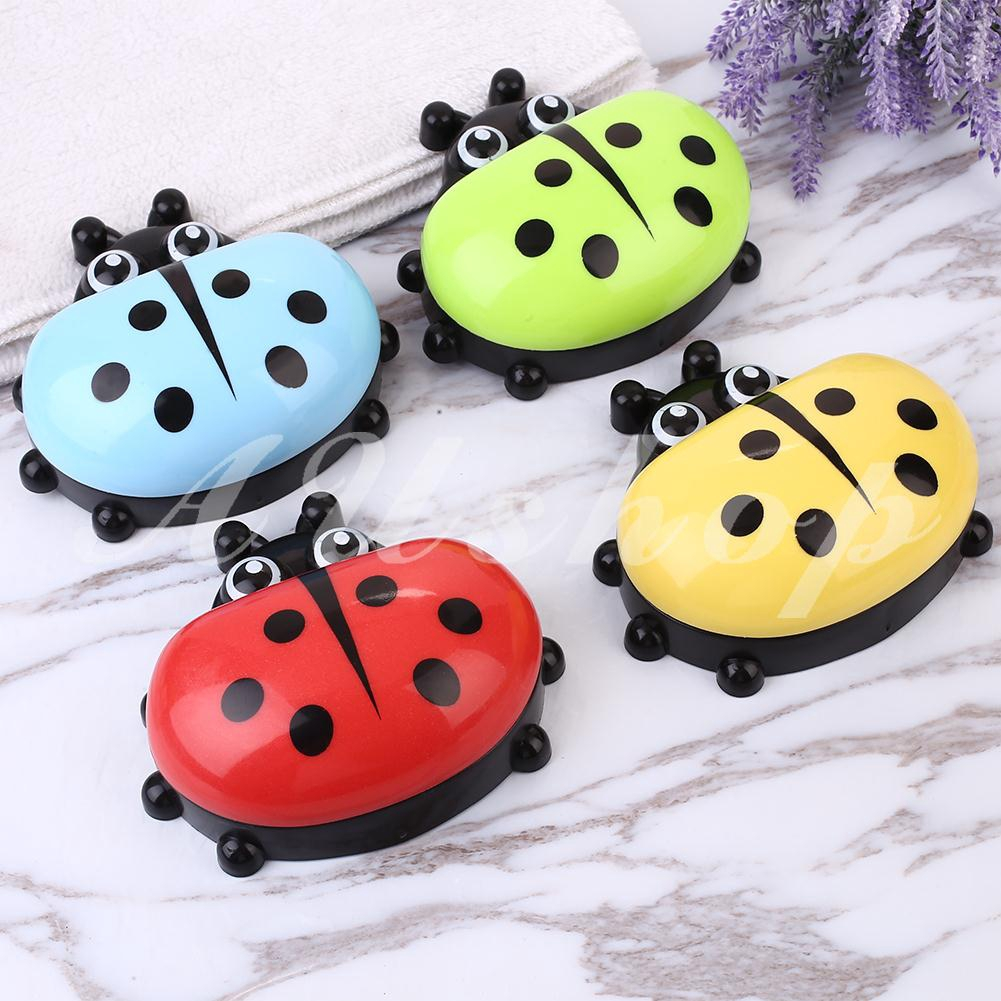 Cartoon Ladybug Soap Box Case Holder With Cover Leak-proof Bathroom Accessories