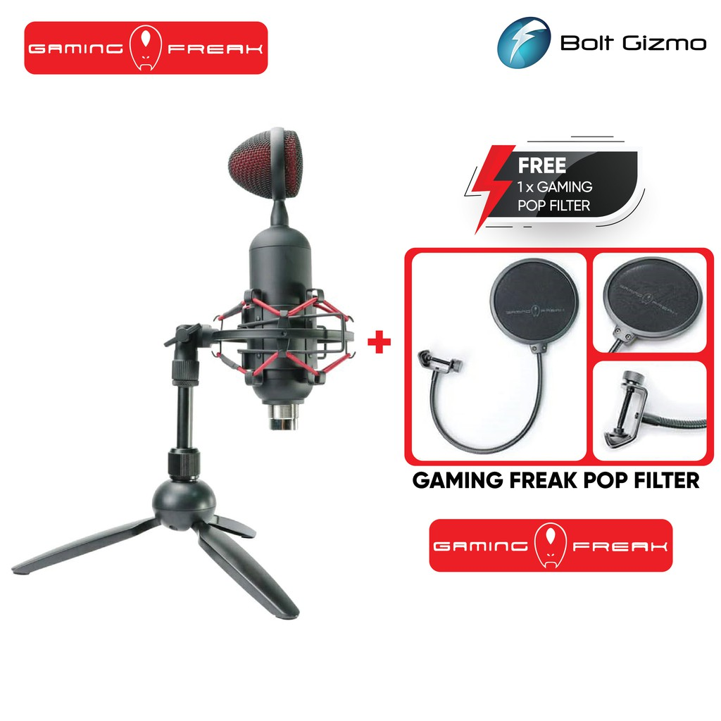 Gaming Freak Chanter Bullet Gaming Microphone + Shock mount + Tripod Included +Pop Filter GF-CHANTERBLLT Live Streaming