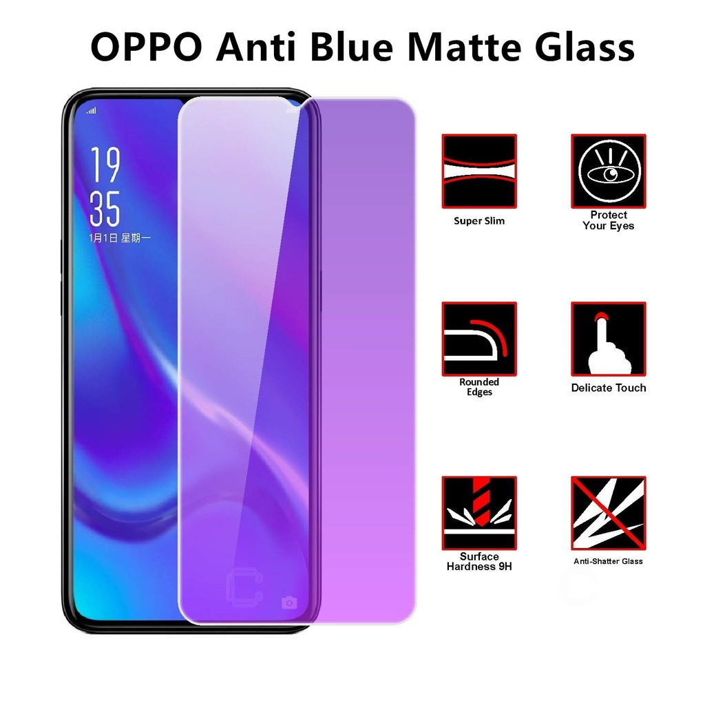 (AntiBlue) Oppo F5 R9S A1K A5S A57 A7 A7 2018 A71 Anti Blue Light Full Matte Tempered Glass Screen Protection
