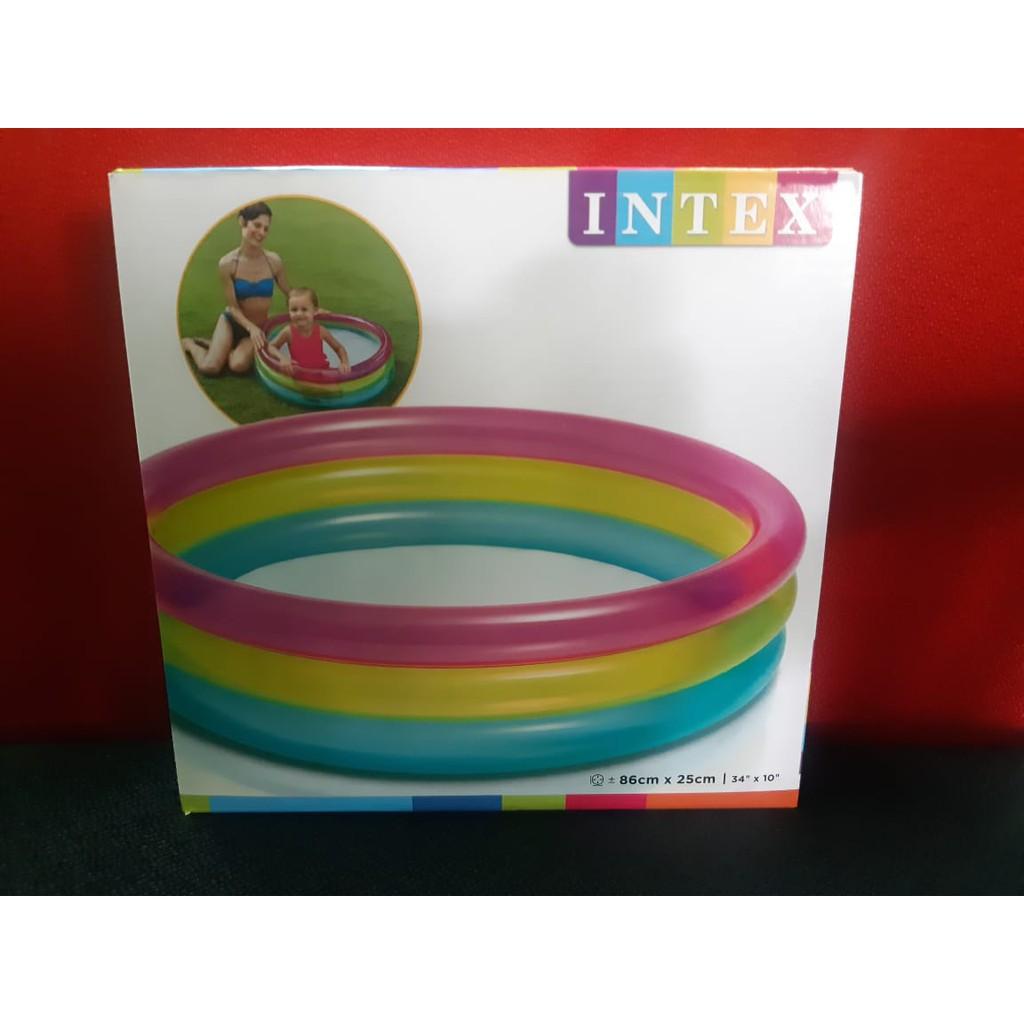 Intex 86cmx25cm 1.14mx25cm 3 Rings Sunset Glow Baby Pool Colorful Swimming Pools kolam renang.