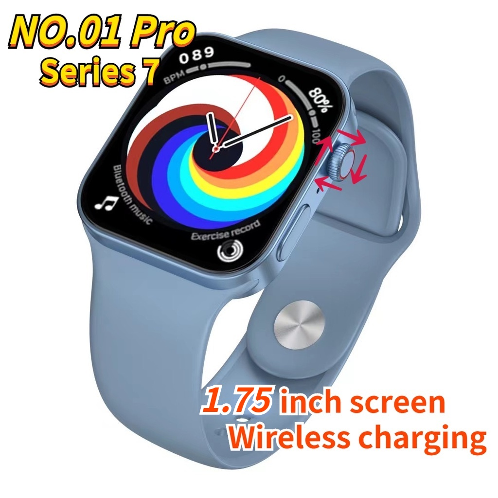 NO.01 Pro watch 7 Smart Watch Support wireless charging Rotate Crown 1.75  Inch Screen BT Call PK Series7 ht99 w37 | Shopee Malaysia