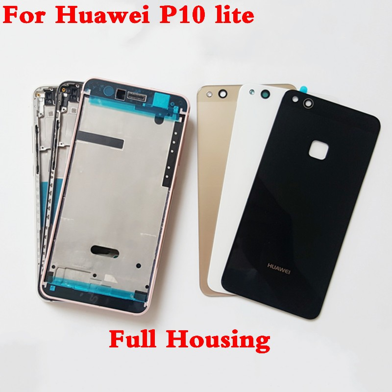 Full Housing For Huawei P10 Lite Middle Frame Glass Back Battery Cover Buttons