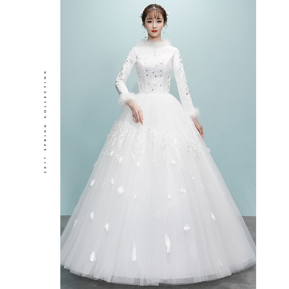 BEAUNIQUE White Fluffy Bead Princess Muslimah Wedding Dress Baju Pengantin  Turki
