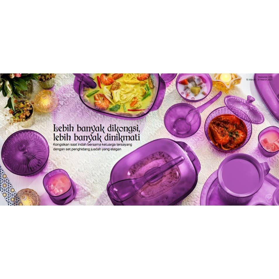 Tupperware Purple Royale Crystalline Saucy Server 1.8L / Soup Server 2.7L / Bowl with Spoon ( New )