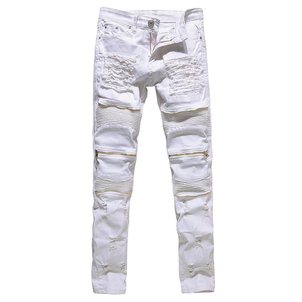 Men/'s Distressed Ripped Skinny Motorcycle Jeans Biker Pants Slim Denim Trousers