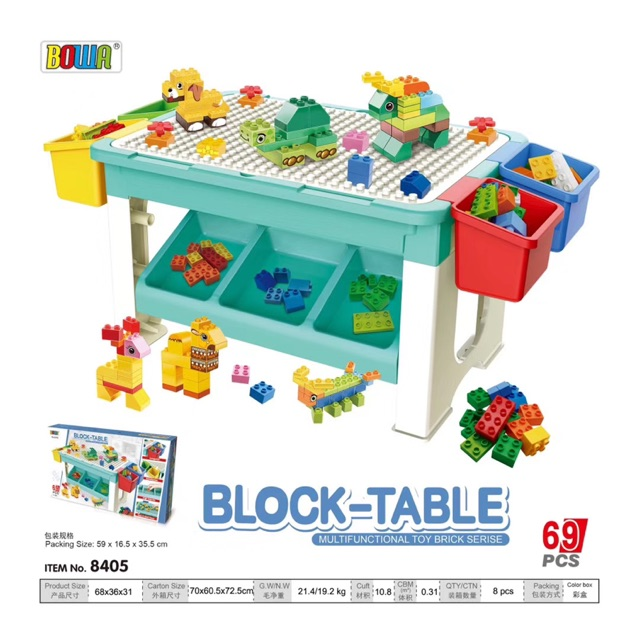 Multi-Function Children Table Building Blocks Learning Playing Study Drawing Lego Duplo Table & Kids Desk