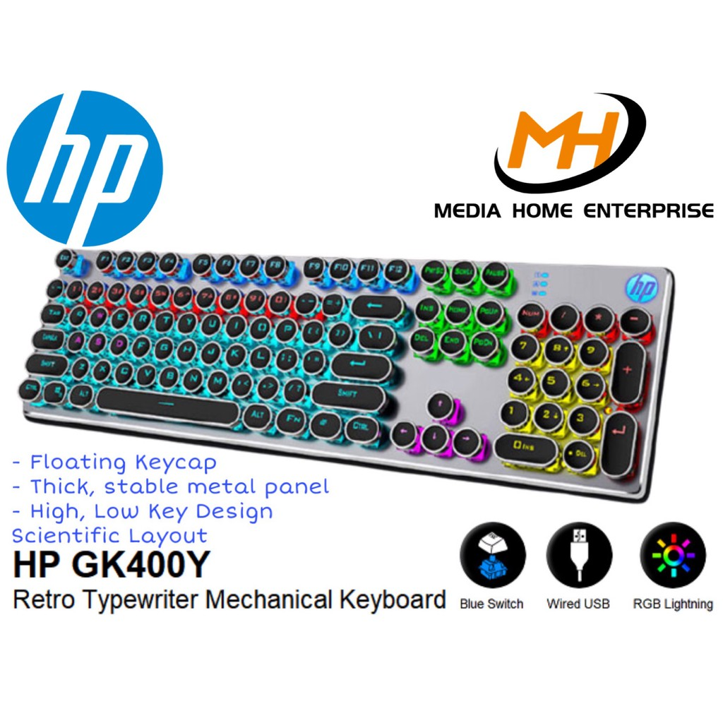 HP Gaming Wired Keyboard GK400Y - Retro Typewriter Mechanical Keyboard, Unique, Ergonomic, RGB Light
