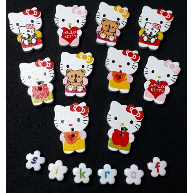 45a7c01a3 10pcs Wooden button hello kitty | Shopee Malaysia