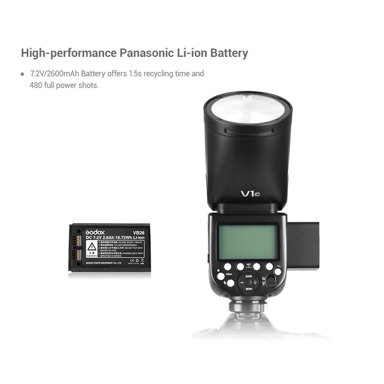 Interchangeable 2600mAh Lithimu Battery with X1T-F Wireless Transmitter for Fuji 480 Full Power Shots 1.5 sec Recycle Time,1//8000 HSS Godox V1-F V1F Flash
