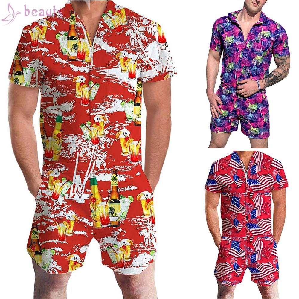 Summer Men Casual Hawaiian Style Print Lapel Zipper Short Sleeve Romper Jumpsuit
