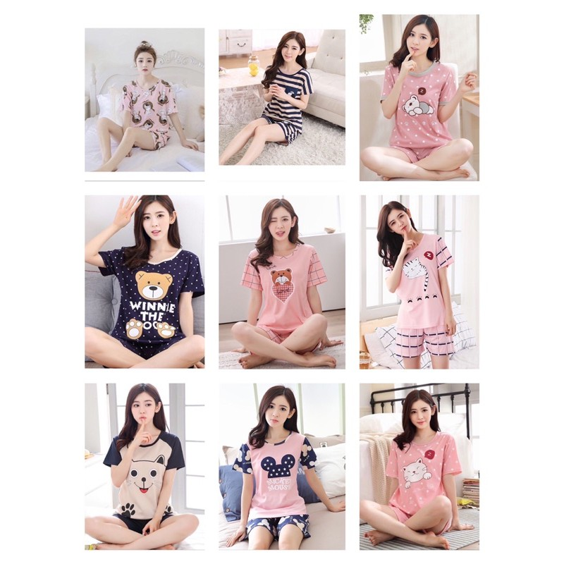 [READY STOCK] WOMEN MILK SILK SHORT SLEEVE SHIRT & TROUSER SLEEPWEAR PYJAMAS SET