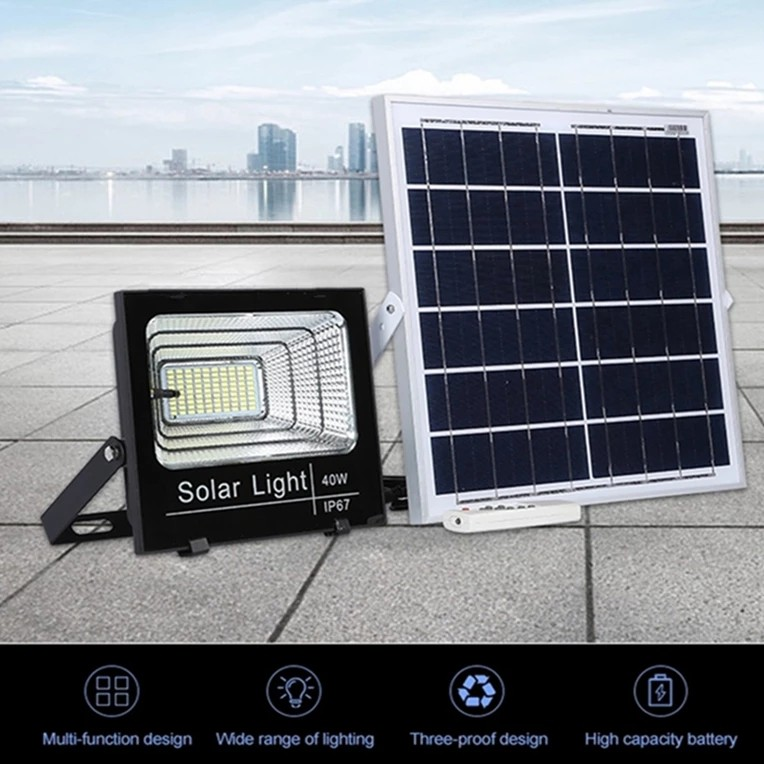 [ READY STOCK ]  Solar 40W 60W 100W Remote Light Control Flood Light Solar powered Street Lamp Waterproof pelita lampu